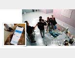 '머니게임' 한 참가자가 우리은행 모바일 애플리케이션 우리WON뱅킹을 통해 우승 상금을 수령하고 있다(왼쪽). '머니게임' 참가자들이 스튜디오에서 서로에게 날 선 반응을 보이고 있다. [유튜브 채널 진용진 캡처]