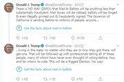 """선 넘은 트럼프 트윗에…트위터 """"팩트 확인하라"""" 첫 경고 문구"""