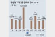 대출 틀어막아도… 은행 가계빚 한달새 6조5000억 늘었다