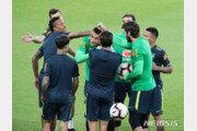 브라질, 대규모 취재진 앞에서 여유있게 한국전 준비