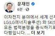 """文대통령, LG·SK 배터리 분쟁 합의에 """"참으로 다행"""""""