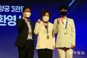 올림픽 양궁 '첫3 관왕' 안산, 광주여대서 환영식 [청계천 옆 사진관]