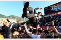 [포토] 부산 승격을 이룬 조덕제 감독의 헹가래!