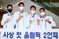 [포토] 남자펜싱 사브르 단체 금메달 '올림픽 2연패 성공!'