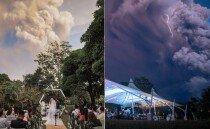 '화산 폭발' 배경으로 결혼식 치른 필리핀 부부