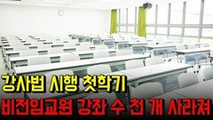 강사법 시행 첫학기, 비전임교원 강좌 수 천 개 사라져