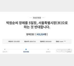 """""""박원순 서울특별시葬 반대"""" 국민청원…50만명 넘본다"""