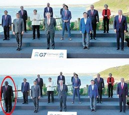 남아공 대통령 잘라내고 文 중앙쪽에…靑 사진 편집 논란