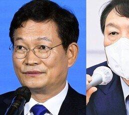 """송영길 """"징계판결 부정해선 안 돼"""" 윤석열 """"한명숙 사건 보라"""""""