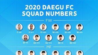 대구FC, 2020시즌 등번호 확정 '데얀 27번'