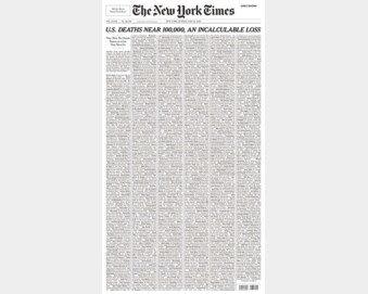 '신혼 즐기지 못한 아내' '웃음 많았던 증조할머니'…NYT 1면에 1000명 부고
