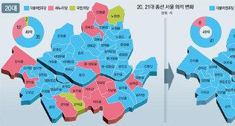 서울 16→12→8석 쪼그라든 통합당… 강남3구-용산 '핑크 외딴섬'