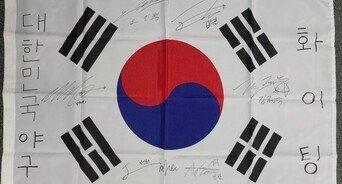 야구대표팀 덕아웃에 양궁 '응원의 태극기'