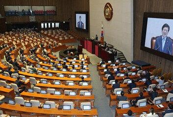 통합당 집단 퇴장 후…21대 국회전반기 국회의장에 박병석 선출