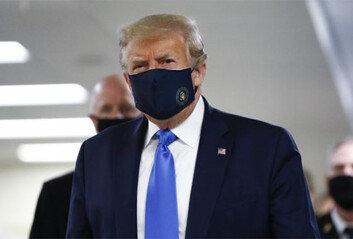 트럼프 드디어 마스크 썼다…공식 석상서 첫 착용