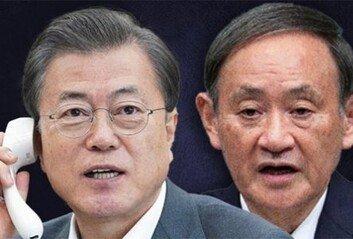 """文대통령, 日 스가와 첫 통화""""강제징용 최적의 해법 찾자"""""""