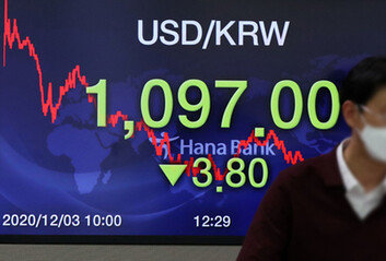 [속보] 원·달러 환율 1097원 마감2년6개월 만에 1000원대 진입