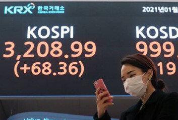 코스피, 종가기준 첫 3200선…'천스닥'도 눈앞