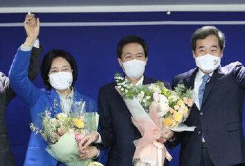민주당 서울시장 후보 박영선 확정박영선 69.5% 우상호 30.4%