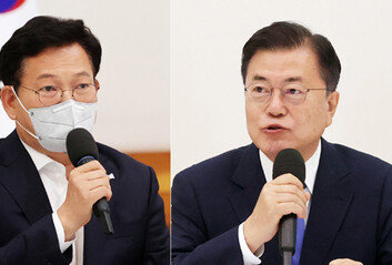 """원팀 강조한 靑, 내부선 """"宋 메시지 정제 안되고 거칠어"""" 불쾌감"""