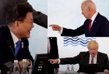 """""""방역 넘버원 누구"""" 文대통령 동시에 가리킨 G7 정상들 화제"""