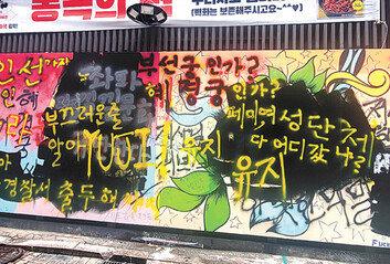 """낙서 범벅된 '쥴리 벽화' 청주서도 """"그리겠다"""""""