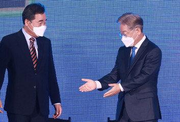 與 광주·전남 경선 1위 이낙연 47.12%2위 이재명 46.95%
