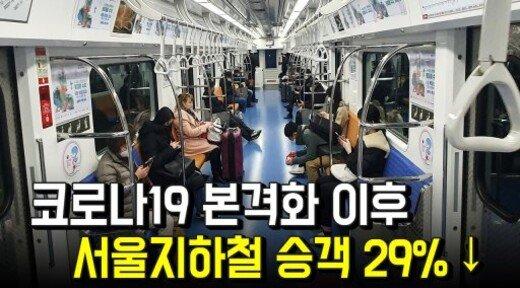 코로나19 본격화 이후…서울지하철 승객 29% ↓
