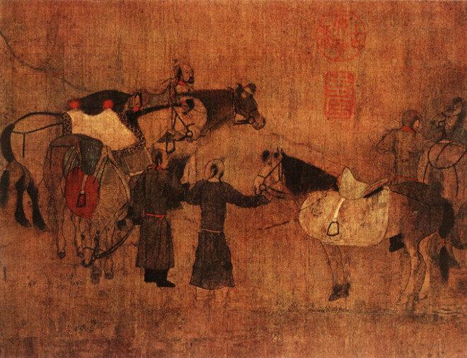중국 네이멍구 츠펑에서 발견된 거란족 생활상을 담은 벽화. 거란족은 유목민으로 말타기에 능했다.