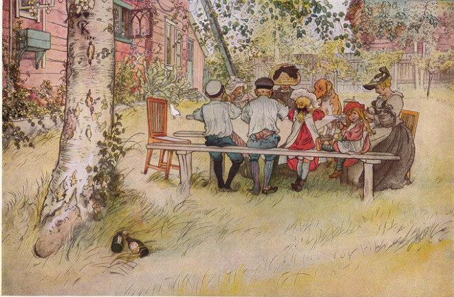 Carl Larsson,  'Breakfast under the  Big Birch', 1896