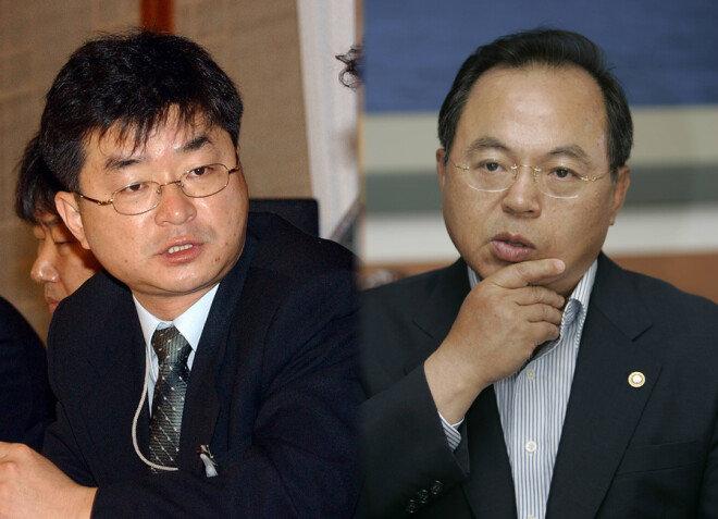 이호철 전 청와대 민정수석비서관(왼쪽), 오거돈 전 해양수산부 장관.