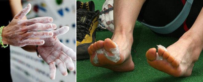 손끝과 발끝에 의지해 암벽을 오르다 보니 손과 발의 뼈가 툭 튀어나와 있다. [박해윤 기자, 동아DB]
