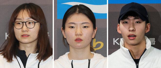최민정, 심석희, 임효준(왼쪽부터) [뉴스1]