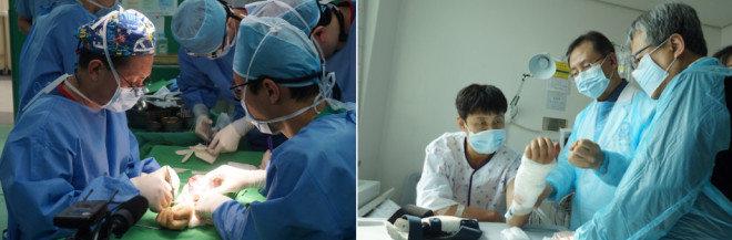 지난해 2월 2일 대구 영남대의료원에서 진행된 손진욱 씨 팔이식 수술 현장(왼쪽). 수술 이후 병실에서 의료진이 손씨(왼쪽)의 팔 상태를 확인하고 있다. [사진제공·W병원]