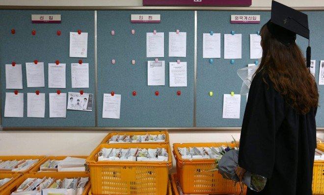 2017년 2월 23일 서울시내 한 대학에서 학위수여식을 마친 한 졸업생이 취업정보센터 게시판을 보고 있다. [동아DB]