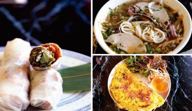 입맛을 돋우는 고이꾸온,얼큰하고 개운한 국물이 맛있는 분보후에,여럿이 나눠 먹기 좋은 반쎄오. (시계방향 순서대로)
