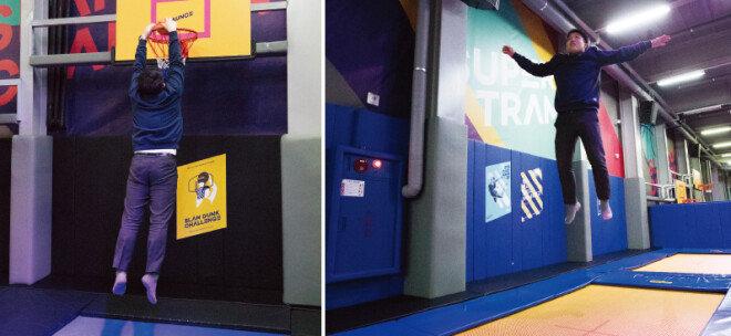 '슬램덩크 존'. 어린이용 낮은 골대도 옆에 마련돼 있다(왼쪽). 올림픽 체조 종목에 사용되는 트램펄린. 모양과 성능이 일반 트램펄린과 다르다.  [지호영 기자]