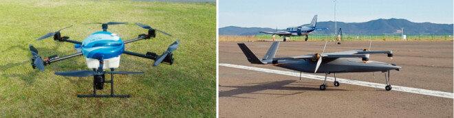 메티스메이크가 개발 중인 농업방재용 드론(왼쪽)과 수직이착륙기 '스트라토 600'. [사진 제공·메티스메이크]