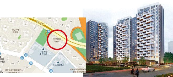 반포현대아파트는 서울지하철 9호선 사평역 2번 출구에 위치해 있다(왼쪽). 반포현대아파트는 지난해 시공사를 동부건설로 선정하고 지하 2층~지상 20층, 총 2개 동 108가구로 재건축을 추진 중이다. [재개발·재건축 클린업시스템 캡처]