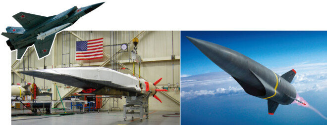 러시아 Mig-31 전투기에 장착된 극초음속 탄도미사일 킨잘, 미국 극초음속 비행체 X-51A, 미국 록히드마틴이 개발 중인 극초음속 무기의 개념도. (왼쪽부터) [러시아 국방부, 미 공군, 록히드마틴]