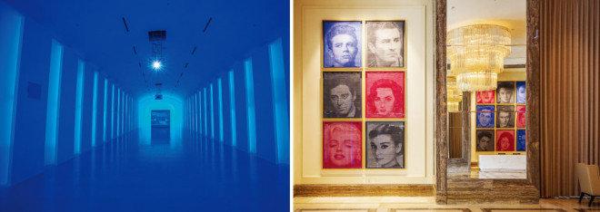 퍼플 윙과 플라자 스퀘어 사이에 위치한 통로이자 전시공간인 '파라다이스 워크'(왼쪽). 컨벤션 1층 복도에서 볼 수 있는 폴 알렉시의 작품 두 점은 그물망을 겹쳐 할리우드와 한국의 스타들을 표현했다.