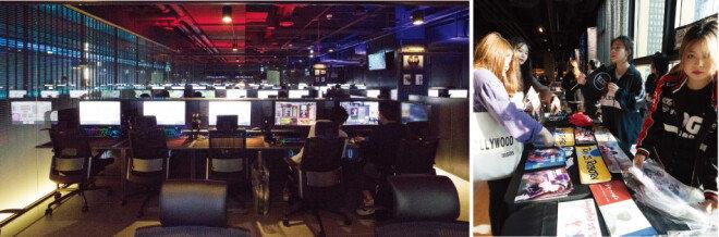 '라이엇 PC방'에서는 최고급 성능의 컴퓨터로 게임을 즐길 수 있다. (왼쪽) 중국 팀 '에드워드 게이밍(EDG)'의 응원도구를 나눠주고 있는 팬들.