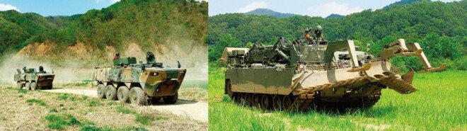 디지털을 기반으로 전투 효율을 극대화한 신개념 전차 K2(왼쪽). 장치 장착으로 다양한 장애물을 제거해 기계화 부대의 기동 능력을 향상시켜주는 장애물개척전차. [사진 제공 · 현대로템]