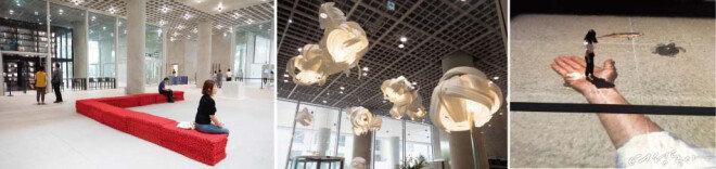 로비 의자(왼쪽)와 오설록티하우스(가운데)는 이광호 작가가 만들었다. 미술관 APMA에서 라파엘 로자노헤머의 관객 참여형 전시작도 만나볼 것(오른쪽).