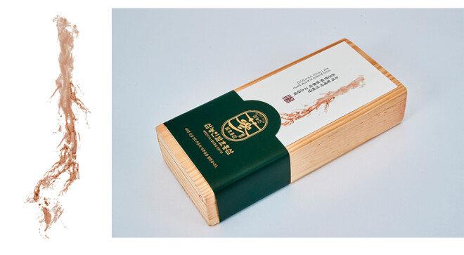삼 진액을 종이에 그대로 압착한 이미지. (왼쪽) 홍삼이 지닌 영양 성분 100%를 눈으로 보며 잔뿌리까지 통째로 먹는삼농인발효홍삼.