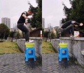 10년간 무술 배운 남성, 물 위에서 점프 '신기!'