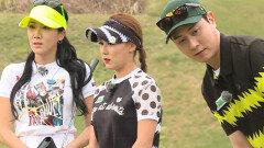 3홀 포섬 스트로크, 앤디 & 혜지 vs 봄이 & 아란 1번홀
