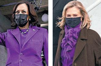 哈里斯身穿象征团结-执政的紫色大衣惹人注目