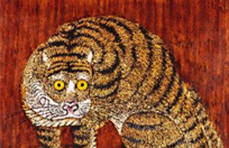 Buddhist monk Seongpa exhibits his lacquer paintings