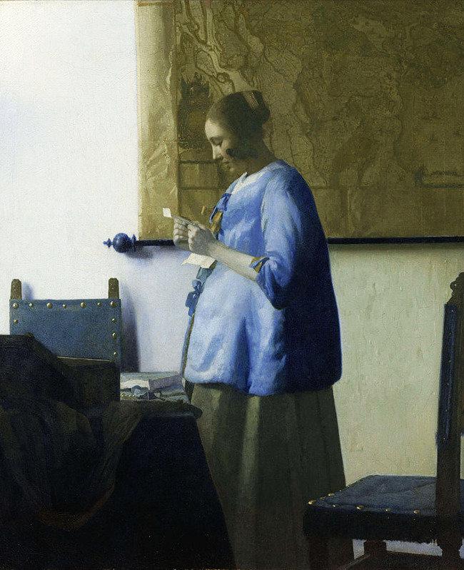 편지를 읽는 푸른 옷의 여인 작은 거리